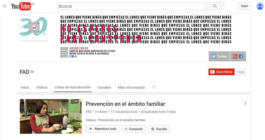 Vídeos prevención en familia FAD